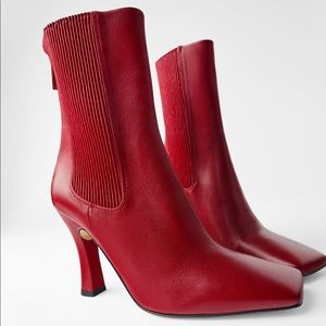 Zara HIGH-HEELED LEATHER ANKLE BOOTS wELASTIC SIDE